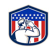 American Soldier Saluting Flag Shield by patrimonio
