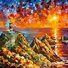 LIGHTHOUSE IN THE HILLS by Leonid  Afremov