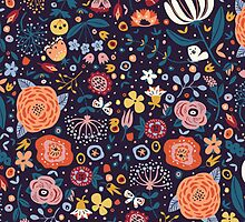 Abstract Colorful Vintage Floral Pattern by sale