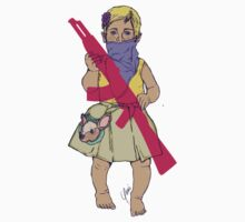 Baby Girl Carrying an Imaginary Gun/ Bebe llevando una pistola Imaginaria by carlacho