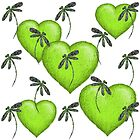 Hearts & Dragonflies Luscious Lime by lyndseyart