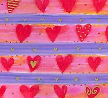 Watercolor Hearts and Stripes by ArtVixen