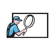 Worker Magnifying Glass Billboard Cartoon by patrimonio