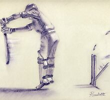 How Did I Miss That? - cricket batsman drawing by Paulette Farrell