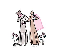 Greyhound Wedding Couple - pink by zoel