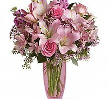 Pink Bouquet with Pink Roses by alfordsflowers