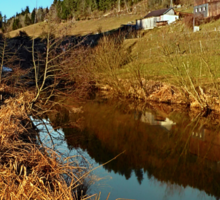 A river, the valley and traditional farmland | waterscape photography Sticker
