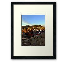 Village skyline below the castle at sundown | landscape photography Framed Print