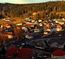 Village skyline below the castle at sundown | landscape photography Sticker