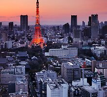 Tokyo tower during sunset art photo print by ArtNudePhotos
