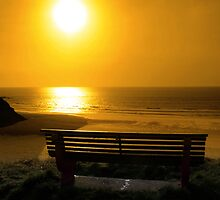 bench with golden sunset view by morrbyte