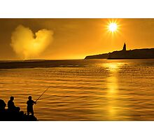 silhouette of father and son loving fishing in Ireland Photographic Print