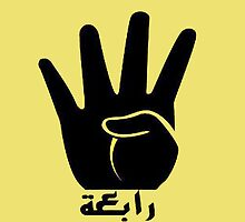 Four-finger 'Rabaa sign' by Lotfibouha