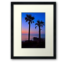 Palm and Moon over Water Framed Print