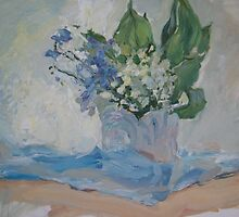 Tenderness. Still-life with lily of the valley and forget-me by Alla Melnichenko