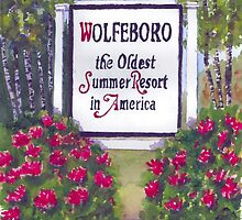 WOLFEBORO NH WELCOME SIGN  by Roseann Meserve