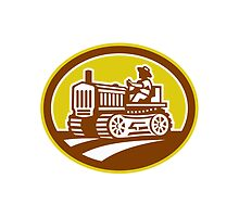 Farmer Drive Vintage Tractor Oval Retro by patrimonio