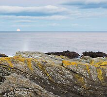 Moon rising over sea at Portlethen, Scotland by Ian Middleton