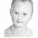 Baby girl in a necklace drawing by Mike Theuer