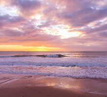 Sunset on the beach at Watergate Bay, Cornwall, UK by Zoe Power
