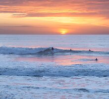 Surfing the sunset at Watergate Bay, Cornwall, UK by Zoe Power
