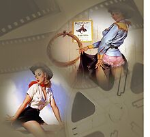 Sexy Pinup Collage Cowgirls at the Movies by Delights