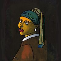 Girl With a Pearl Earring Cell (after Vermeer & M Groening) by Donna Huntriss