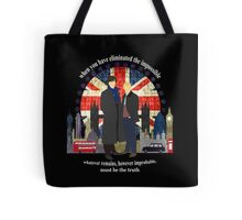 Eliminate the Impossible (White Text) Tote Bag