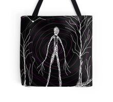 dark creepy slender man in forest on Halloween by Tia Knight Tote Bag