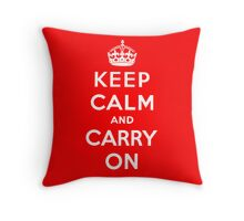 KEEP CALM AND CARRY ON (BLACK) Throw Pillow