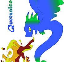 Flying Quetzalcoatl with Flames Blue by Mars714