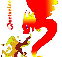 Flying Quetzalcoatl with Flames Red by Mars714
