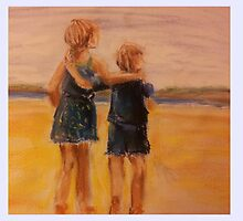 A walk along the beach, siblings by Caroline Martin