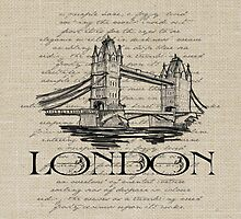 London Tower Bridge Pillow by friedmangallery