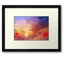Landscape of dreaming Poppies'... Framed Print
