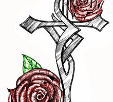Blood and Roses Cross by Sandra Gale