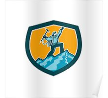 Mountain Climber Reaching Summit Retro Shield Poster
