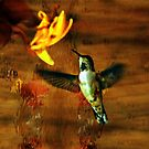 Hovering Hummingbird Cottage Scene by Val  Brackenridge