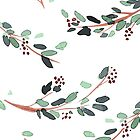 Watercolor Branches with Berries by SolomatinaY
