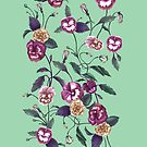 Pansy and Vines in Purple on Mint by ThistleandFox