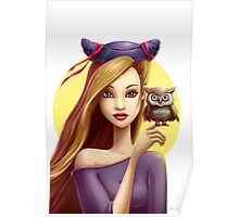 Girl with little cute owl Poster