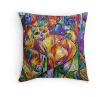 Cubist Cats At Dusk Throw Pillow