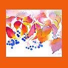 Autumn Colors Watercolor Throw Pillow (Orange Border) by Pat Yager
