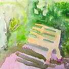Chenrezig Retreat garden bench by donnamalone