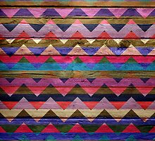 Colorful Chevron Pattern on Wood Texture by Nhan Ngo