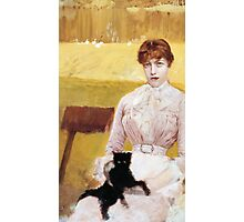 Lady with Black Kitten Photographic Print