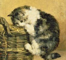 Cat with a Basket by Bridgeman Art Library