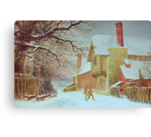 Snowballing at Tiddlington Canvas Print