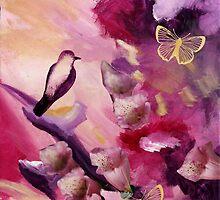 Two Butterflies and a Bird by LauraBergrenArt