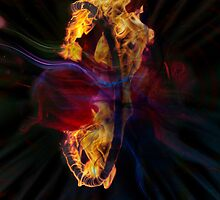 monkey in circus hoop on fire by NafetsNuarb